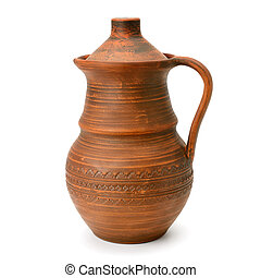clay jug with a lid isolated on a white background