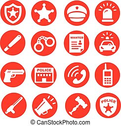 police icons set, red buttons vector