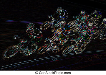 Final Spurt - An Illustration of a professional bikerider...