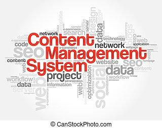 CMS Content Management System word cloud, business concept