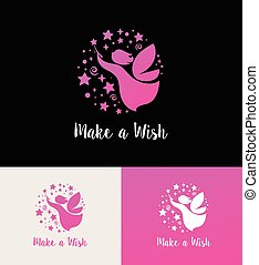 Fairy with magic wand - make a wish icon and symbol