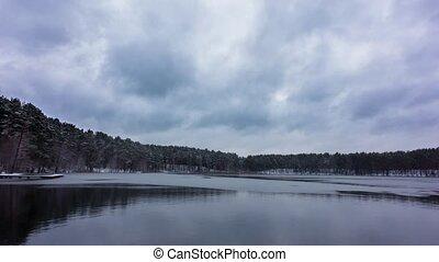 Winter lake, panoramic time-lapse