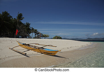 Traditional Philippines boat on the beach - Philippines...