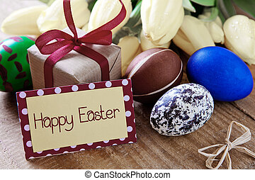 Happy Easter card. - Colorful easter eggs with yellow tulip...
