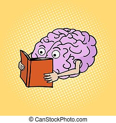 Brain reading pop art style vector illustration - Brain...