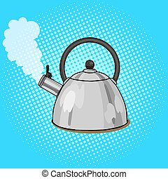 Kettle boils with water pop art style vector illustration....