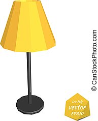 Yellow desk lamp on a white