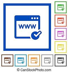 Domain registration framed flat icons - Set of color square...