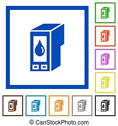 Ink cartridge framed flat icons - Set of color square framed...