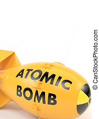Yellow atomic bomb on a white background. Vector...