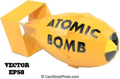Stylized yellow atomic bomb on a white background Vector...