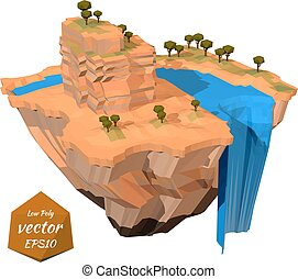Floating island with a rock