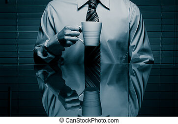 Man with a drink  - Image of a man about to take a drink