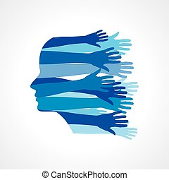 Head with Caring hands, abstract vector illustration