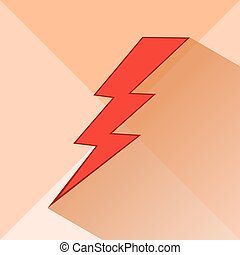 Icon of lightning on a light background. Meteorology, storm....