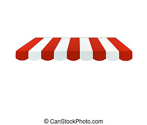 Colorful striped awning on a white background. 3D...