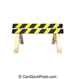 Road barrier with a wooden stand 3D illustration