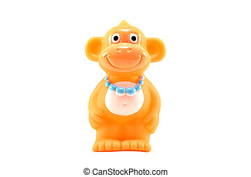 Monkey toy on white background