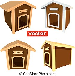 Icons wooden dog house isolated on white background. 3d....
