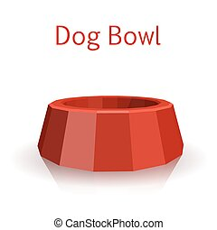 The single red icon pet bowls isolated on white background...