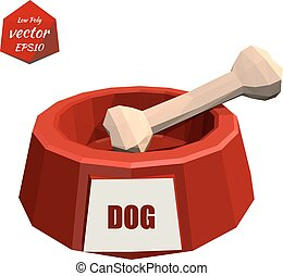 Red icon pet bowls and bone isolated on white background Dog...