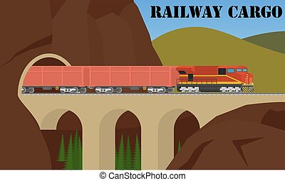 Rail transportation. Freight railroad train over the bridge.