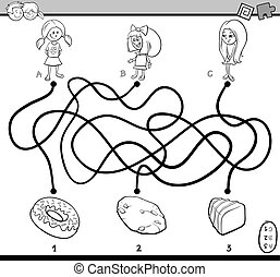 maze puzzle task for coloring - Black and White Cartoon...