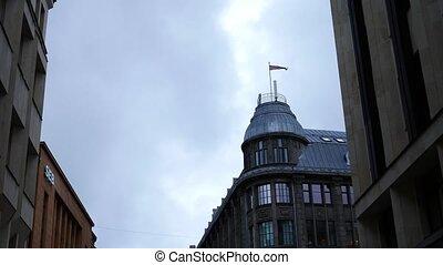 Latvian national flags at Riga old town, Riga, Latvia