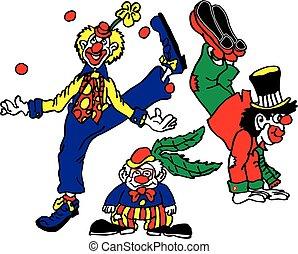 3 Clowns Circus Act - vector image of 3 clowns doing circus...