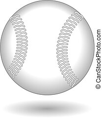 Illustration of a baseball or softball in white leather with...