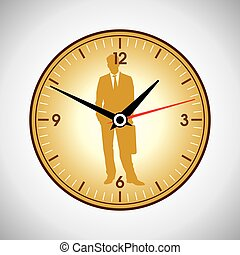Large yellow wall clock on a white background