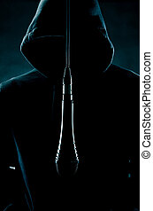 Man wearing hood with hanging mic - image of a man wearing a...
