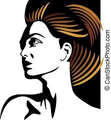 glamor girl with golden hair