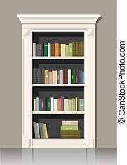 Book wooden cabinet - Classic wall panels and a bookcase in...