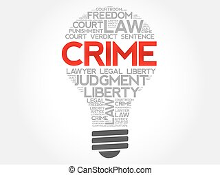 Crime bulb word cloud concept