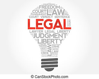 Legal bulb word cloud concept