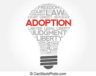 Adoption bulb word cloud concept