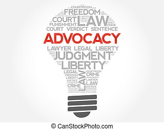 Advocacy bulb word cloud concept