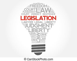Legislation bulb word cloud concept