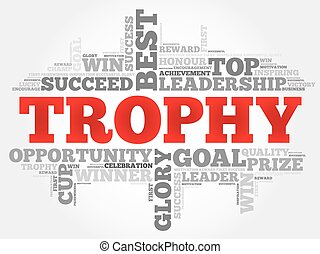 Trophy word cloud, business concept