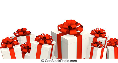 Gifts. Objects isolated over white