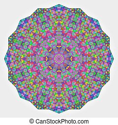 Colorful Circle Kaleidoscope Backdrop. Mosaic Abstract Flower of