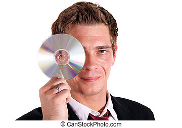 Data Privacy - A smarting businessman holding a cd or dvd....