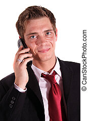 Service - A smart businessman making a call. All isolated on...