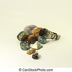 Healing crystals and Sage - Several popular crystals used...