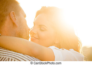 Intimate moments - couple in love - Romantic couple hugging...