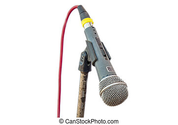 Old microphone on stand