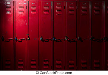 Red lockers - Image of red lockers with a light