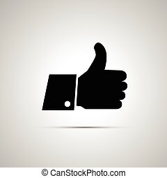 Black thumbs up icon with shadow - Black simple thumbs up...