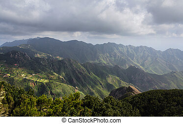 mountain landscape panoramic view - green hills